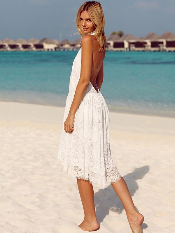 Lace Halterneck Backless Midi Dress