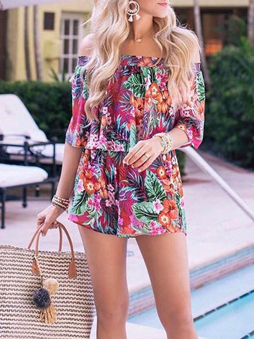 Floral Printed Off-the-shoulder Two-pieces Suits