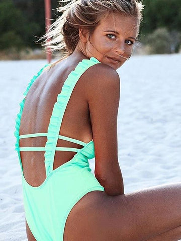 Sexy Solid Color Falbala One-Piece Bikini Swimwear