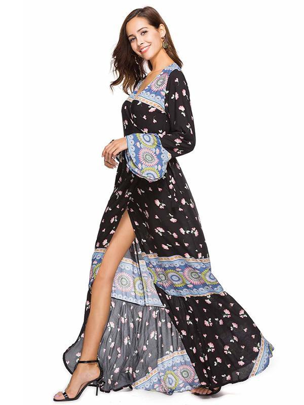 Flared Sleeves Printed Wrap Maxi Dress