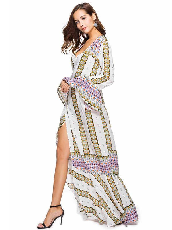 Floral Flared Sleeves Wrap Maxi Dress