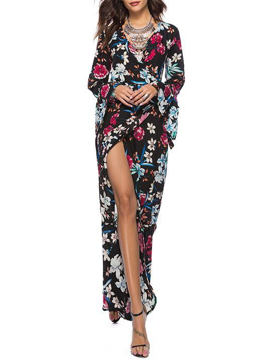 Floral Printed V-neck Wrap Maxi Dress
