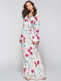 Flared Sleeves V-neck Wrap Maxi Dress
