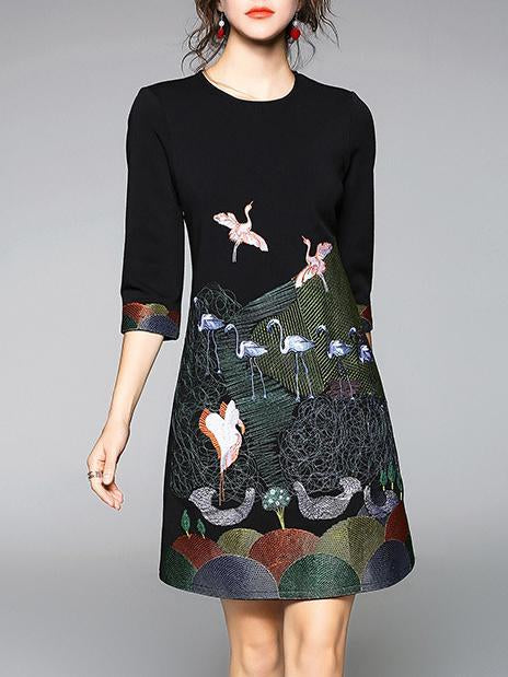 Elegant Bird Embroidered Mini Dress