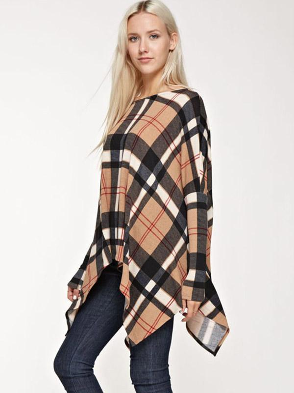 Asymmetric Loose Plaid Blouses&Shirts Top