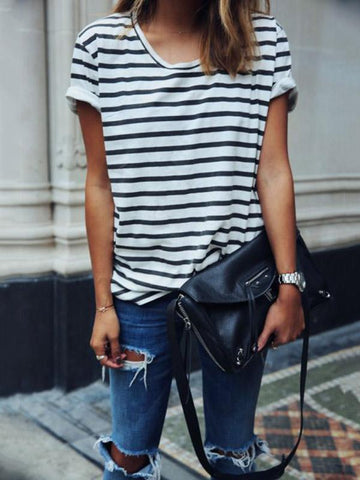Stripes Round Collar Blouses&Shirts Top