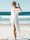 Solid Color 3/4 Sleeves Cover-up Swimwear