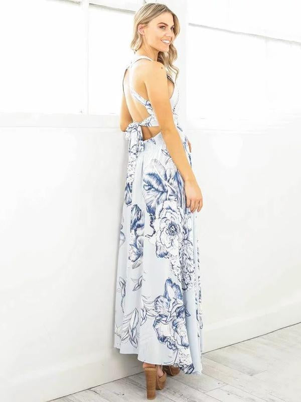 Halterneck Backless Split-side Bohemia Dress