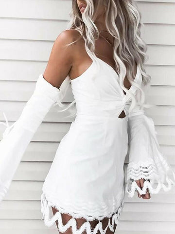 Lacy Split-joint Spaghetti-neck Mini Dress