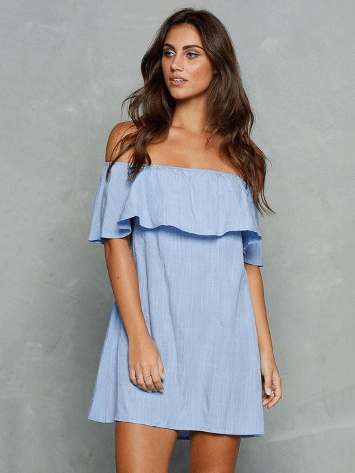 Off-the-shoulder Falbala Mini Dress