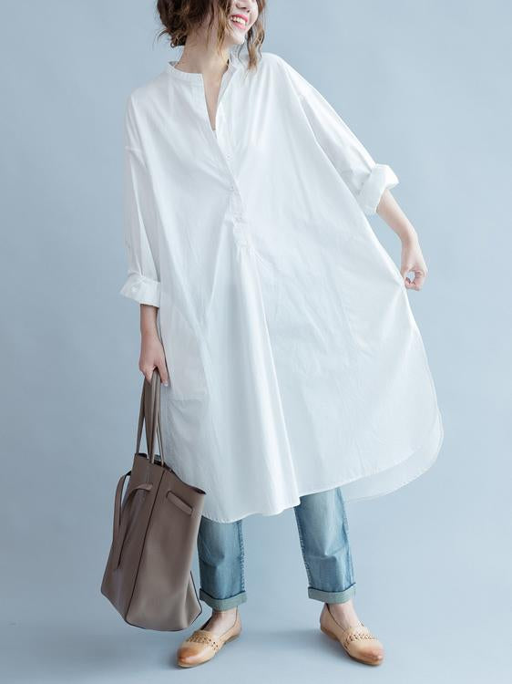 Simple Stand-collar White Long Blouse Dress