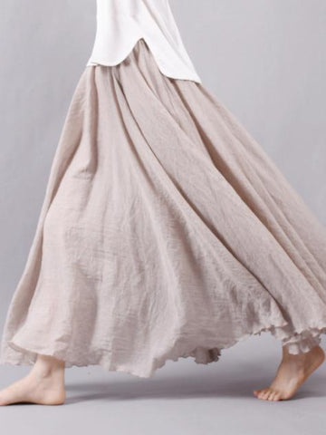 9Color Super Loose Linen Cotton Big Pendulum Skirt