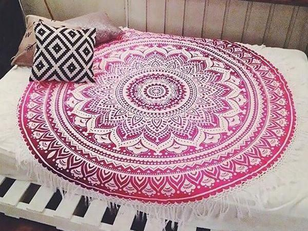 Beautiful Summer Bohemia Round Beach Mat Yoga Mat