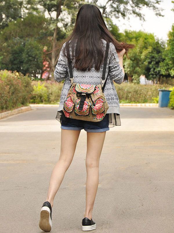 Beauty Embroidered Drew-string Backpack