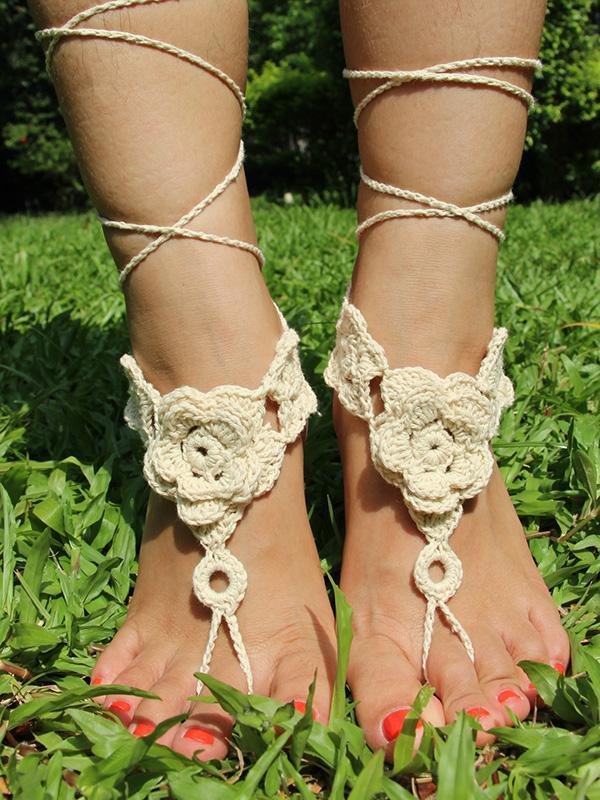 Pretty Crochet Weave Flower Footchain Accessories