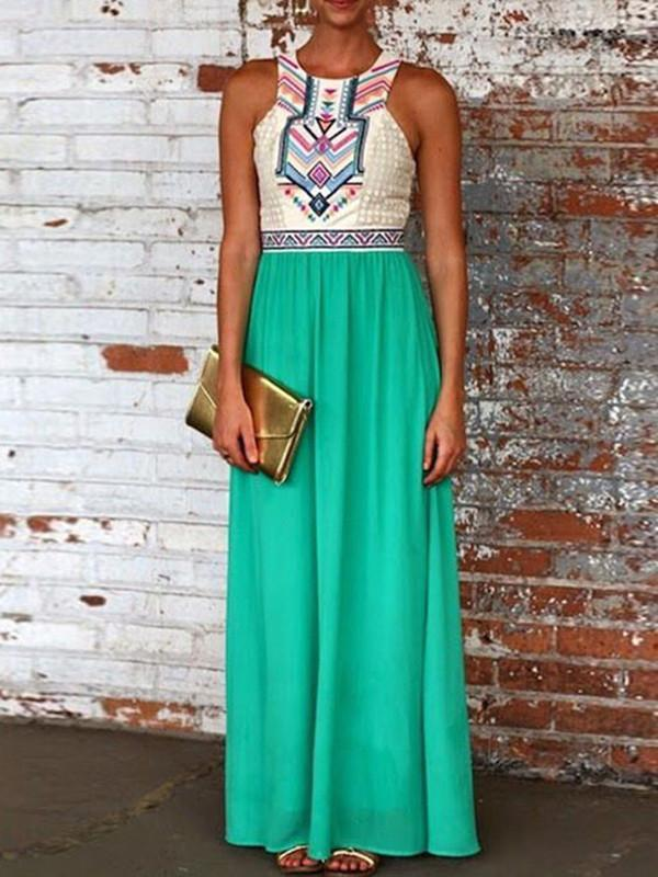 Chiffon Green Floral Printed Round Neck Maxi Dress