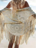 Fashion Tasseled Hollow Cape Cover-up