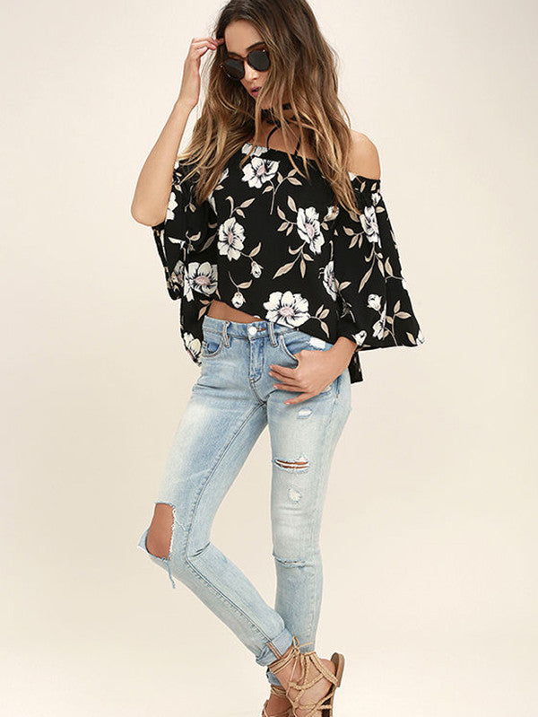 In Stock Off Shoulder 3/4 Sleeve Blouse Shirt Tops