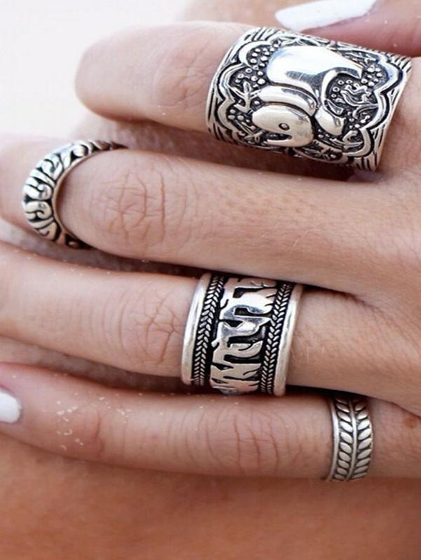 4PCS Vintage Elephant Carved Rings Accessories