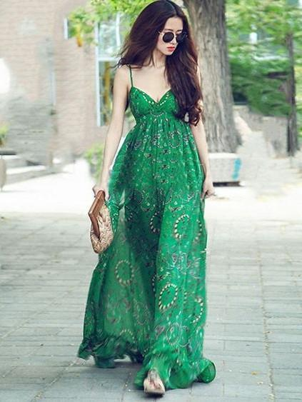 Green Chiffon Floral-Print Straps V Neck Bohemian Beach Maxi Dress