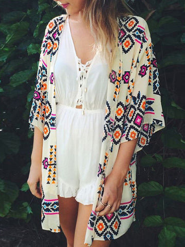 Chiffon Arrow Print White Bohemia Beach Mini Cover-Up Swimwear