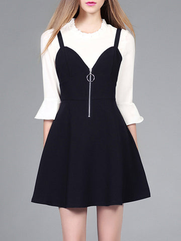 Pretty Half Sleeve Round Neck Shirt and A Line Black Mini Dress Suits
