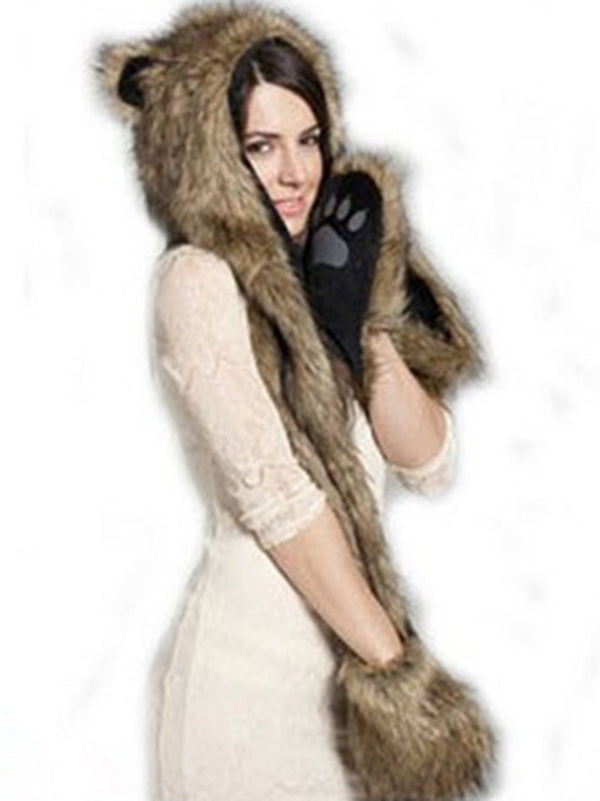 Animal Pattern Faux Fur Hat&Gloves Accessories