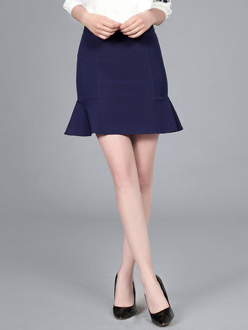 Pretty Navy Blue Short Mermaid Slim Fit Skirt Bottoms