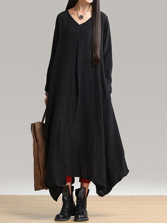 ecb036b9cc1 Simple Solid Color Long Sleeves Maxi Dress – oshoplive
