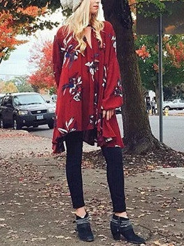 Pretty Floral Long Sleeve V Neck Lose Mini Dress Blouse&Shirt