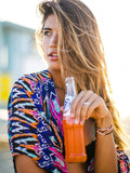 Colorful Long Sleeve Chiffon Beach Cover-up Tops