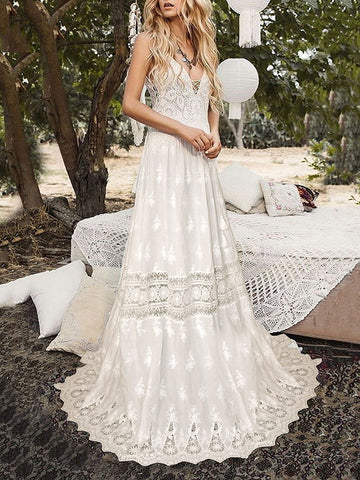 d7bc746e5bb4 Lace Hollow Spaghetti-neck Bohemia Wedding Dress