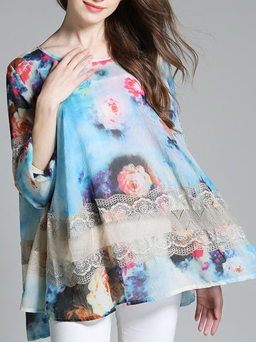 Pretty Floral Plus Size Long Sleeve Round Neck Chiffon Blouse Shirt Tops