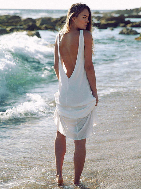 Chiffon Backless Sleeveless Maxi Dress Cover-Ups