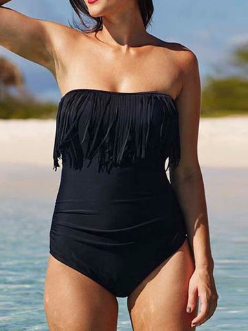 Pretty Sexy Solid Color Tassels Off-Shoulder One-Piece Swimwear