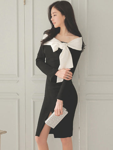 Sexy Black and White Off Shoulder with Bow Long Sleeve Front Split Midi Dress