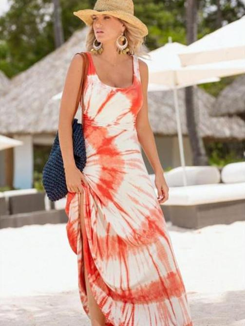 Beautiful Floral-Print Beach Vacation Stripes Sleeveless Maxi Dress