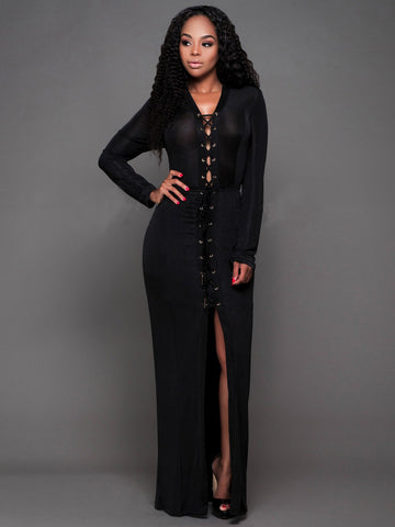 Sexy Long Sleeve V Neck with Tie Front Split Floor Length Maxi Dress