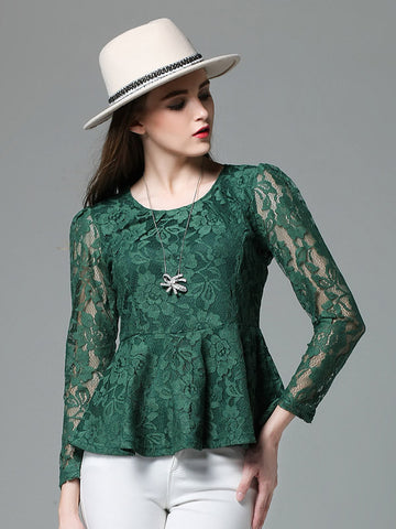 Sweet Green Lace Plus Size Long Sleeve Round Neck T-Shirt
