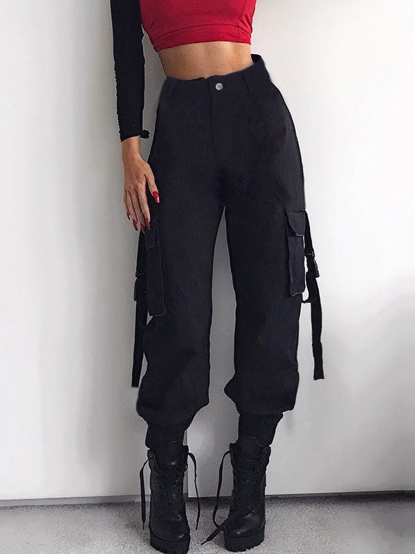 3 Colors High Waist Cargo Pants For Women Oshoplive