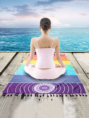 Square Beautiful Rainbow Beach Mat