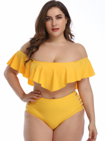 Plus Size Plain Ruffled Tankinis