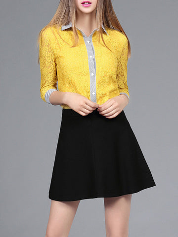 Pretty Yellow Lace 3/4 Sleeve Stand Neck Blouse and Black Skirt Dress Suits