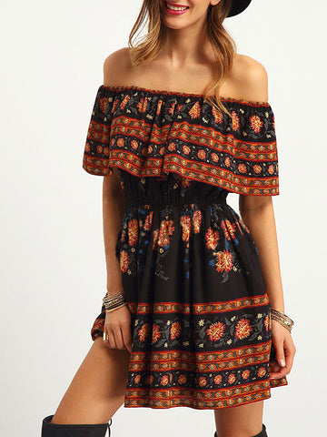 Pretty Bohemia Floral Off Shoulder Elastic Waist Mini Dress