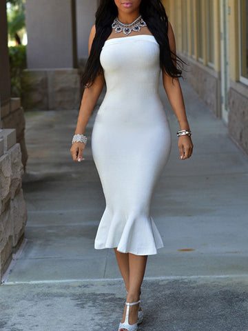 Sexy Solid Color Strapless Bodycon Elastic Mermaid Maxi Dress