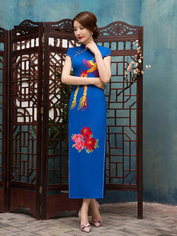 Pretty Blue Floral Cap Sleeve Turtle Neck Side Split Long Cheongsam Party Dress