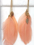 Fashion Popular Bohemia Feather Shape Style Alloy Earrings
