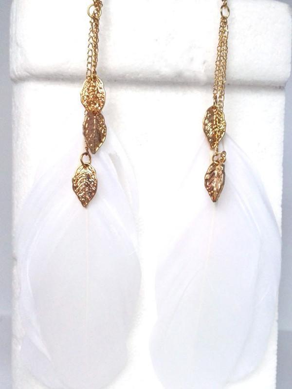 Beautiful Fashion Bohemia Feather Shape Style Alloy Earrings
