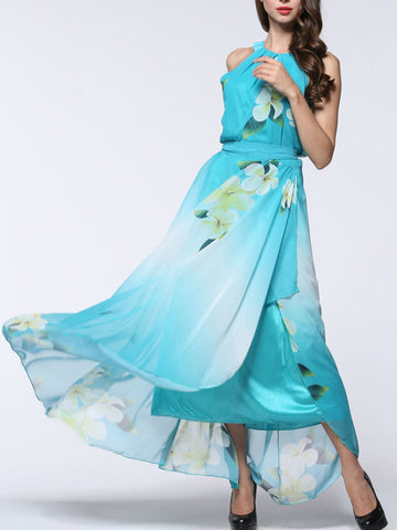 Pretty Sky Blue Floral Plus Size Sleeveless Halter Maxi Dress