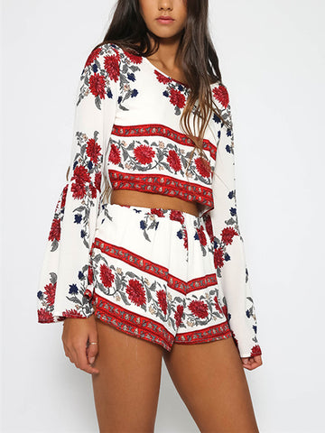 Bohemia Floral Long Sleeves Shorts Suits